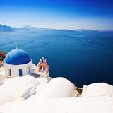 Santorini Churches and Sea in Greece Royalty Free Stock Image