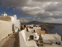 Santorini - classic alleyway Stock Photos