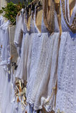 Santorini typical clothes. Some white bluses from Santorini royalty free stock image