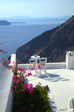 Table for two scenic view Santorini stock photography
