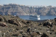 Santorini cruise ship Stock Photo