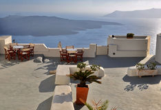 Santorini-Dachansicht Lizenzfreies Stockbild