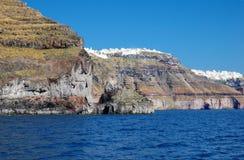 Santorini dal mare La Grecia Fotografia Stock Libera da Diritti