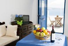 santorini de caldeira de villa de maison de caverne Photos stock