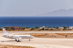 Santorini Departure Private Jet Royalty Free Stock Image