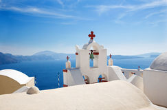 Santorini - The detail of typically little church in Oia Stock Photo