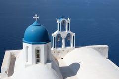 Santorini - detail of typically little church Theoskepasti in Imerovigli under the Skaros. Royalty Free Stock Photo
