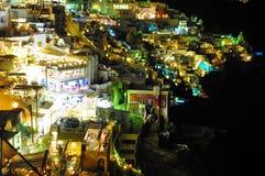 Santorini di notte Fotografie Stock