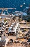 Santorini Drahtseilbahn lizenzfreie stockfotos