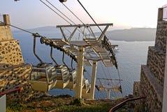 Santorini Drahtseilbahn, Santorini Griechenland Stockbilder