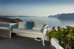 Santorini Island,  Villa Terrace view Stock Photography