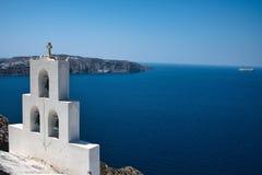 Santorini Dzwony i morze zdjęcie stock