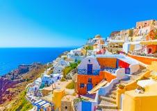 In Santorini-eiland in Griekenland Stock Foto