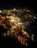 Santorini entro la notte Immagini Stock
