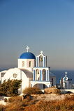 Santorini Exo Gonia blue domed Church Royalty Free Stock Photography