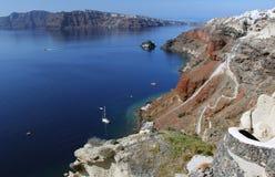 santorini för ö för byggnadsgreece kull Arkivfoton