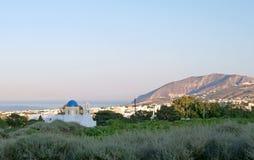 santorini för ö för byggnadsgreece kull Arkivbilder