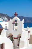 Santorini för kyrkliga klockor Arkivfoton