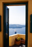 Santorini Ferry. Through a door gate at Fira Royalty Free Stock Images
