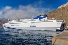 Santorini ferry Seajets. Big ferry at Santorini Port stock photography