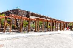 Остров Santorini, Крит, Греция. Руины и археологические раскопки в Fira стоковые фотографии rf