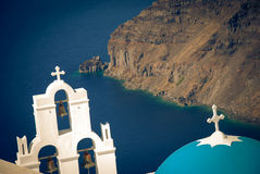 Santorini, Fira blue domes on blue sea Stock Photos