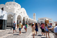SANTORINI,FIRA-JULY 28: Fira cathedral on July 28,2014 in Fira town on Santorini, Greece. Royalty Free Stock Image
