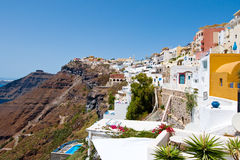 SANTORINI,FIRA-JULY 28: Fira landscape on the edge of caldera on July 28,2014 in Fira town on Santorini, Greece. Royalty Free Stock Images