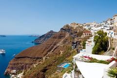 SANTORINI,FIRA-JULY 28: Fira landscape on the top of the caldera on July 28,2014 in Fira town on Santorini, Greece. Royalty Free Stock Image