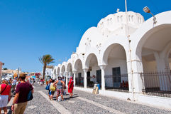 SANTORINI,FIRA-JULY 28: Orthodox cathedral on July 28,2014 in Fira town on the Santorini island, Greece. Royalty Free Stock Images