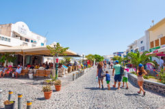SANTORINI,FIRA-JULY 28: Shopping street on July 28,2014 in Fira on the Santorini island, Greece. Royalty Free Stock Photo