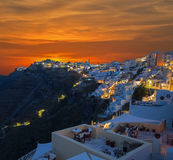 Santorini - The Fira at morning dusk and the Firostefani Royalty Free Stock Photography