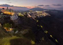 Santorini - The Fira at morning dusk from Firostefani Stock Image