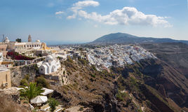 Santorini - The Fira at morning dusk from Firostefani Royalty Free Stock Photo
