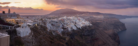 Santorini - The Fira at morning dusk from Firostefani Stock Photos