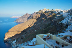 Santorini - The Fira in morning light and the Firostefani Stock Images