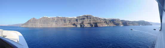 Santorini Fira panoramic view from a cruise ship Royalty Free Stock Image