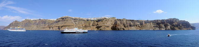 Santorini Fira panoramic view from a cruise ship Royalty Free Stock Photo