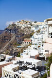 Santorini. Fira town and a Restaurant Royalty Free Stock Photo