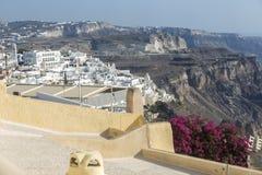 Santorini Fira Village, Cyclades, Aegean Sea, Greek island, Greece. FIRA, SANTORINI, GREECE - AUGUST 23, 2018: View of Fira village on the edge of the volcanic royalty free stock photo