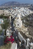 Santorini Fira Village, Cyclades, Aegean Sea, Greek island, Greece. FIRA, SANTORINI, GREECE - AUGUST 23, 2018: View of Fira village on the edge of the volcanic royalty free stock photography