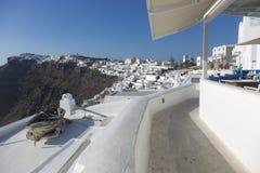 Santorini Fira Village, Cyclades, Aegean Sea, Greek island, Greece. FIRA, SANTORINI, GREECE - AUGUST 23, 2018: View of Fira village on the edge of the volcanic stock image