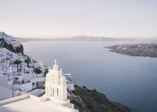 Santorini, Firostefani-Dorp Stock Foto's