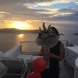 Santorini fleurit l'île romantique Grèce Image libre de droits
