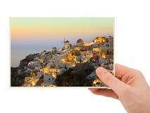 Santorini fotografia w ręce Obrazy Royalty Free