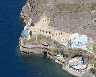 Santorini gammal port arkivfoto