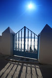Santorini, Gate against sunset in Fira Stock Photography