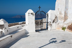Santorini - gate of church in Imerovigli. Royalty Free Stock Photo