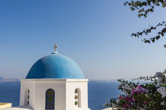Santorini gränsmärkesikt Arkivfoto