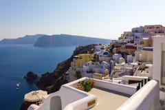 Santorini gränsmärkesikt Royaltyfri Bild
